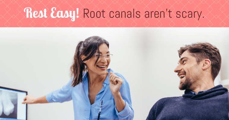 A dentist with a patient discussing root canals